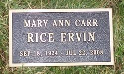 Mary Ann <i>Carr</i> Ervin