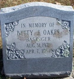 Betty J <i>Oakes</i> Basinger