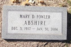 Mary D. <i>Fowler</i> Abshire