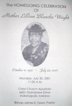 Lillian Blanche <i>Dimmitt</i> Wright