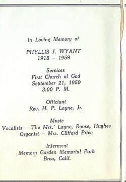 Phyllis Jean <i>Atwater -</i> Wyant