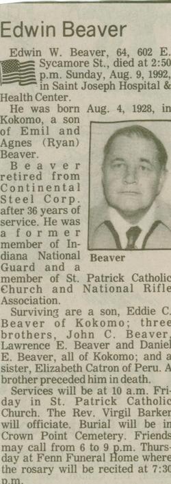 Edwin Warren Ed Beaver