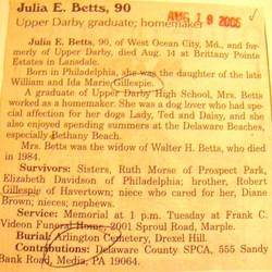 Julia E <i>Gillespie</i> Betts