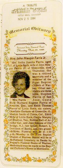 Retha 'Juanita' <i>Davidson</i> Farris