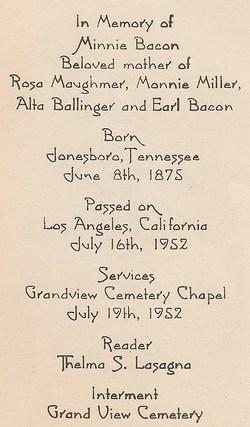 Minnie Alvari <i>Mitchell</i> Bacon