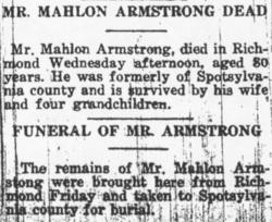 Pvt Mahlon Armstrong