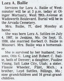 Lora A. <i>Suttles</i> Bailie