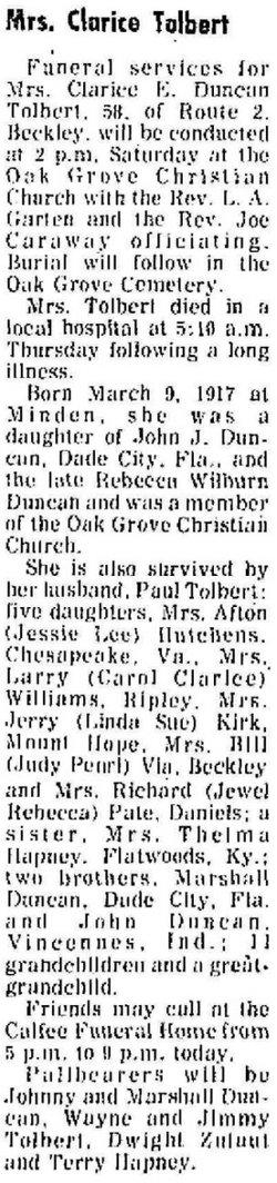 Clarice Ethel <i>Duncan</i> Tolbert