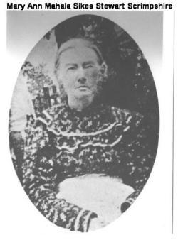 Mary Ann Mahala <i>Sikes</i> Schrimpshire