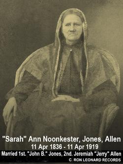 Sarah Ann <i>Noonkester</i> Jones/Allen