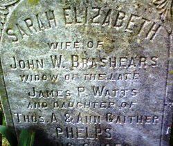 Sarah Elizabeth <i>Phelps</i> Brashears