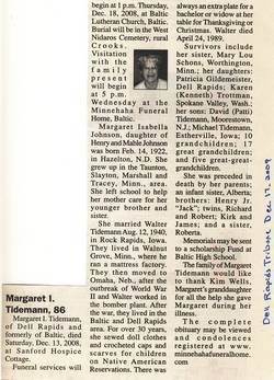 Margaret Isabella <i>Johnson</i> Tidemann
