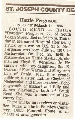 Dorothy Hattie <i>Slabaugh</i> Ferguson