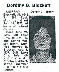 Dorothy Ida Dot <i>Behm</i> Blackett