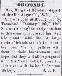 Margaret <i>Hannah</i> Rowden