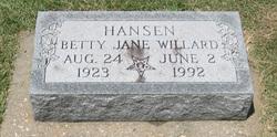 Betty Jane <i>Willard</i> Hansen