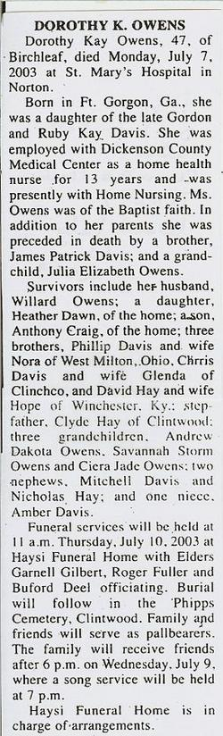 Dorothy Kay <i>Davis</i> Owens