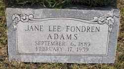 Jane Lee <i>Fondren</i> Adams