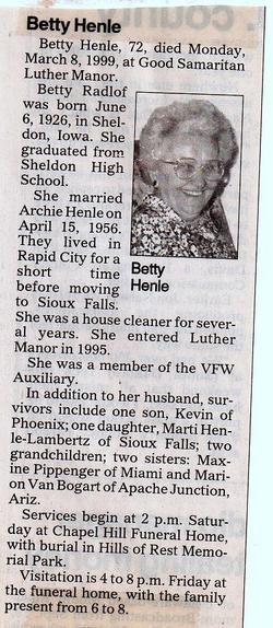 Betty M. <i>Radlof</i> Henle
