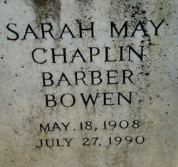 Sarah May <i>Chaplin Barber</i> Bowen