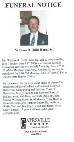 William Roy Bill Hann, Sr
