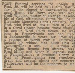 Joseph Henry Joe Post
