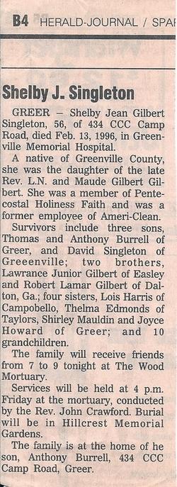 Shelby Jean <i>Gilbert</i> Burrell Singleton