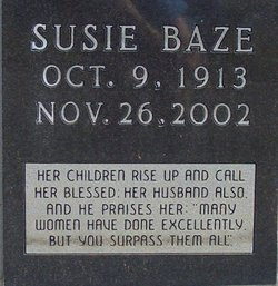 Susie Wike <i>Tannehill</i> Baze