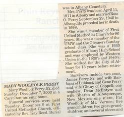 Mary Allene <i>Woolfolk</i> Perry