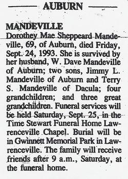 Dorothey Mae <i>Sheppeard</i> Mandeville