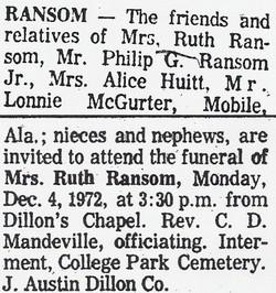 Carrie Ruth <i>McQurter</i> Ransom