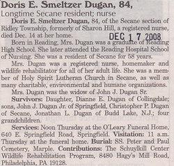 Doris E <i>Smeltzer</i> Dugan