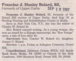 Francine J <i>Hunley</i> Bolard