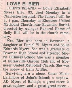 Lovie Elizabeth <i>Myers</i> Bier