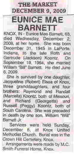 Eunice Mae <i>Koontz</i> Barnett