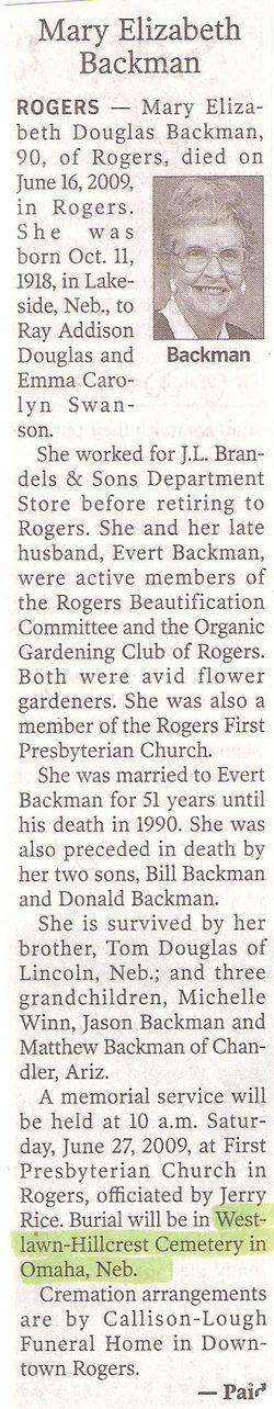 Mary Elizabeth <i>Douglas</i> Backman
