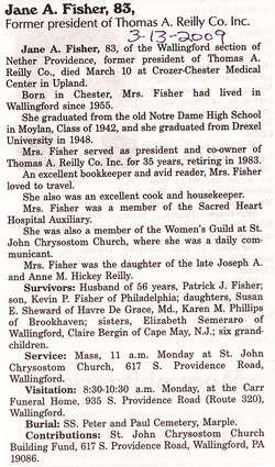 Jane A <i>Reilly</i> Fisher
