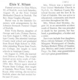 Elsie Viola <i>Barton</i> Nilson