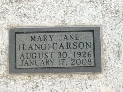 Mary Jane <i>Lang</i> Carson