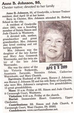 Anne B <i>Wawraszko</i> Johnson