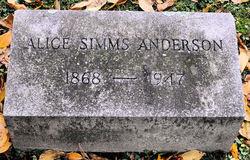 Alice <i>Simms</i> Anderson