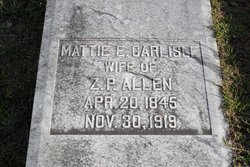 Martha E. Mattie <i>Carlisle</i> Allen