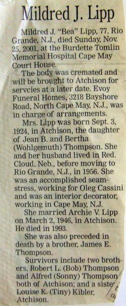 Mildred Jean Bea <i>Thompson</i> Lipp