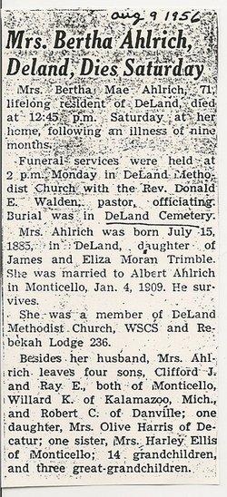 Bertha Mae <i>Trimby</i> Ahlrich