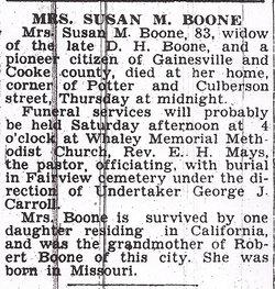Susan M. <i>Keyes</i> Boone