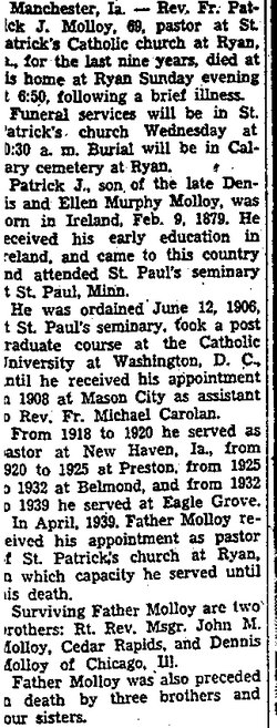 Rev Patrick J Molloy