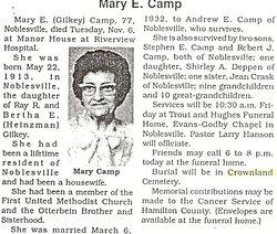 Mary Elizabeth <i>Gilkey</i> Camp