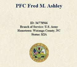 PFC Fred Marshall Ashley