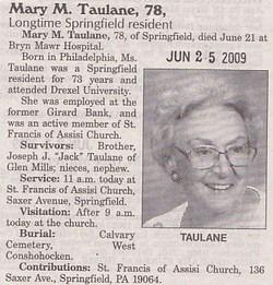 Mary M Taulane