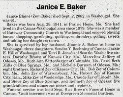 Janice Elaine <i>Zey</i> Baker
